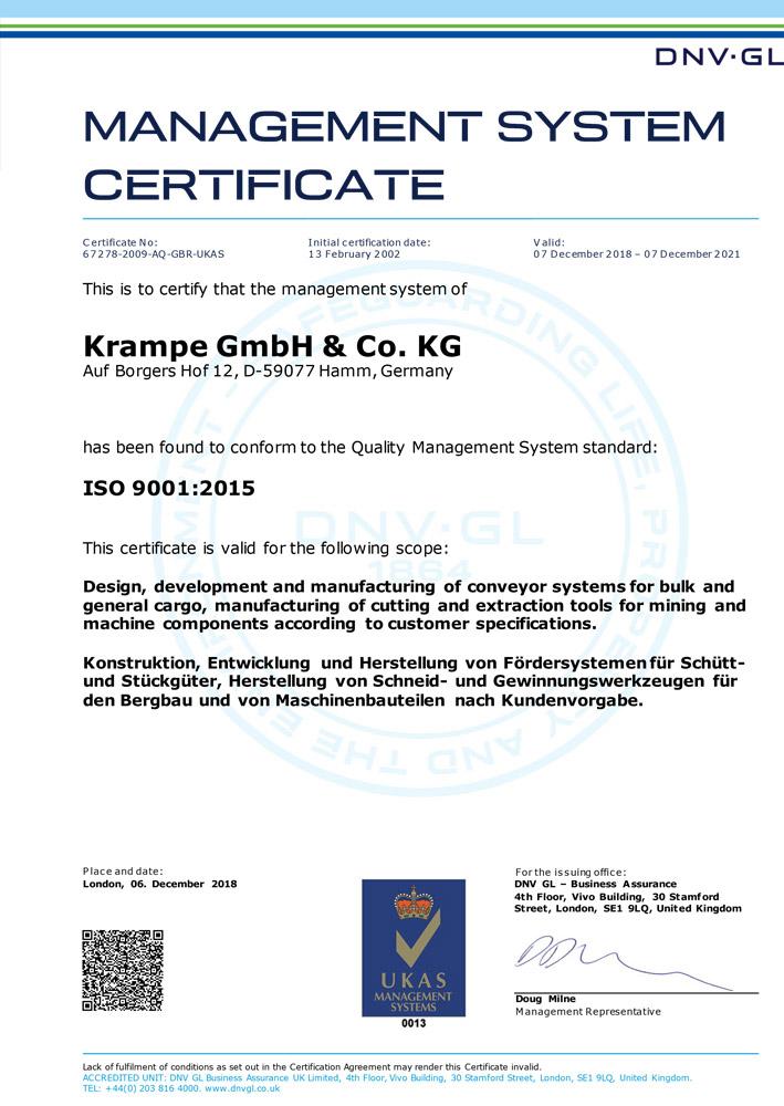 Zertifikar ISO-9001-2015 - Krampe GmbH & Co. KG, Hamm - Fördertechnik, Gewinnungstechnik, Maschinenbau