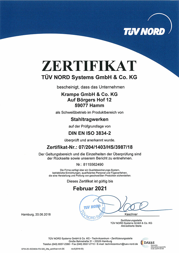 Zertifikat DIN EN ISO 3834-2 - Krampe GmbH & Co. KG, Hamm - Fördertechnik, Gewinnungstechnik, Maschinenbau