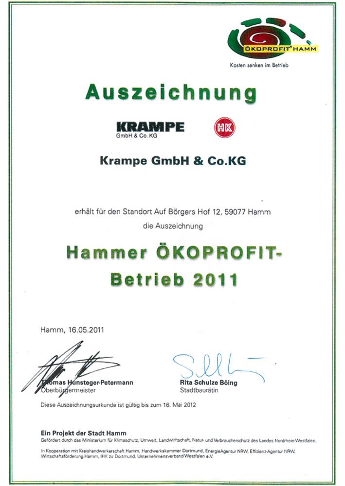 Auszeichnung, Hammer Ökoprofit, Betrieb 2011 - Krampe GmbH & Co. KG, Hamm - Fördertechnik, Gewinnungstechnik, Maschinenbau.2